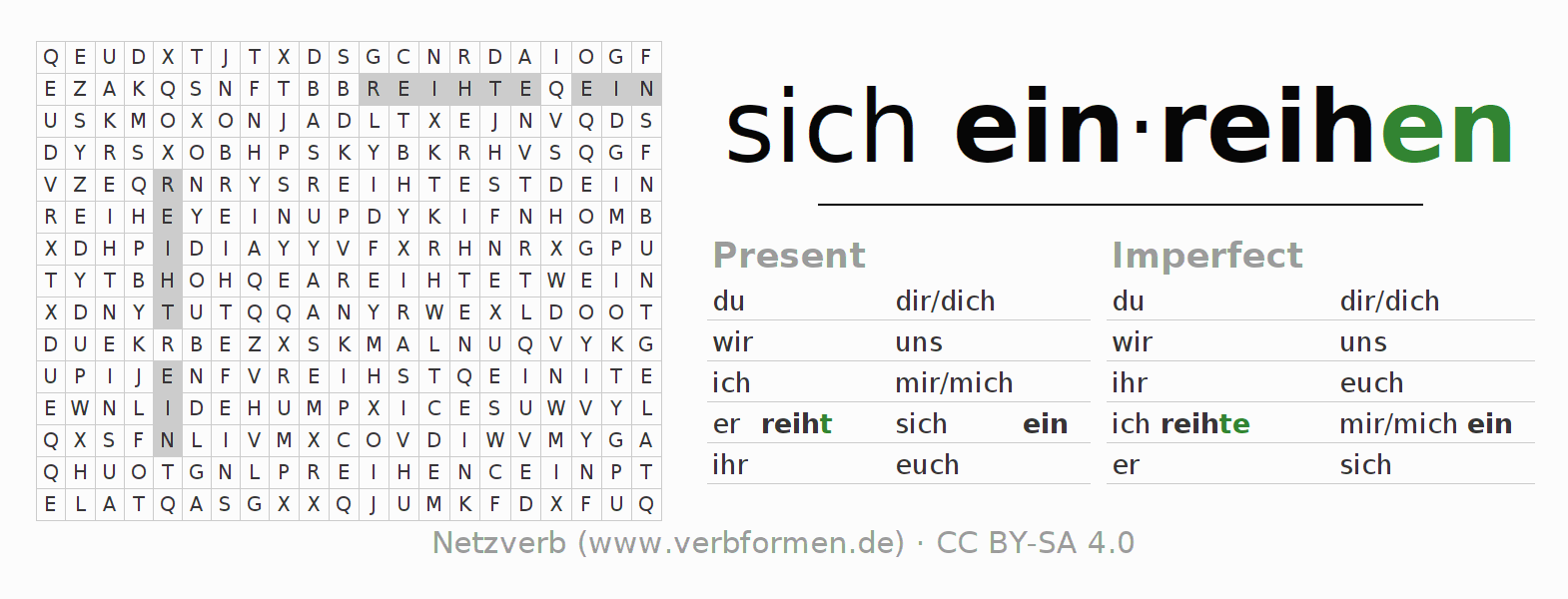 Word search puzzle for the conjugation of the verb sich einreihen