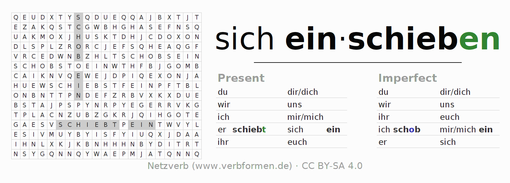 Word search puzzle for the conjugation of the verb sich einschieben