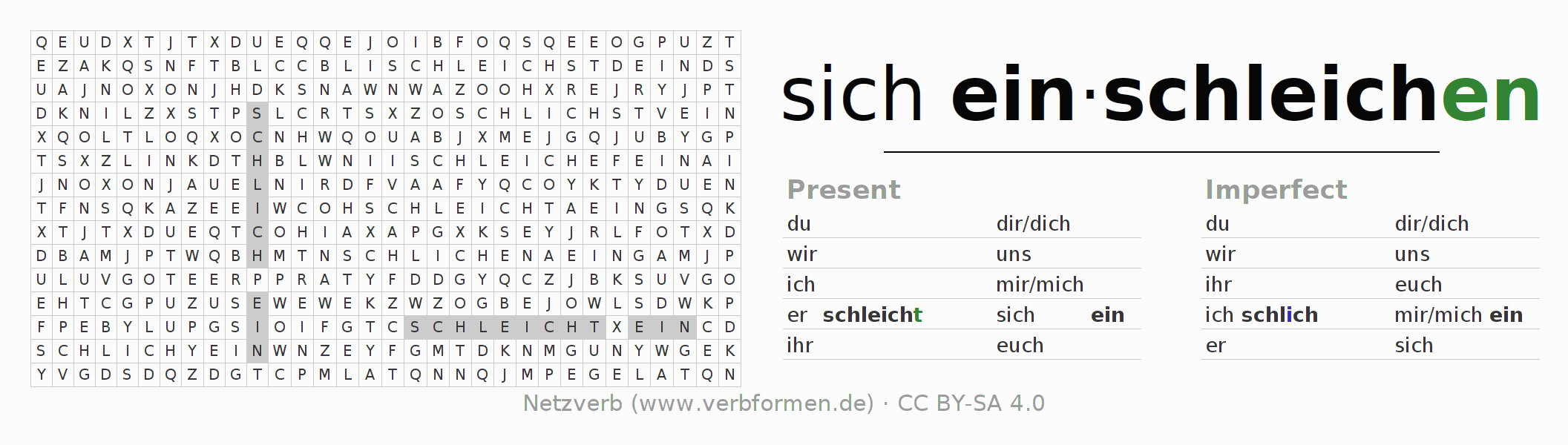 Word search puzzle for the conjugation of the verb sich einschleichen