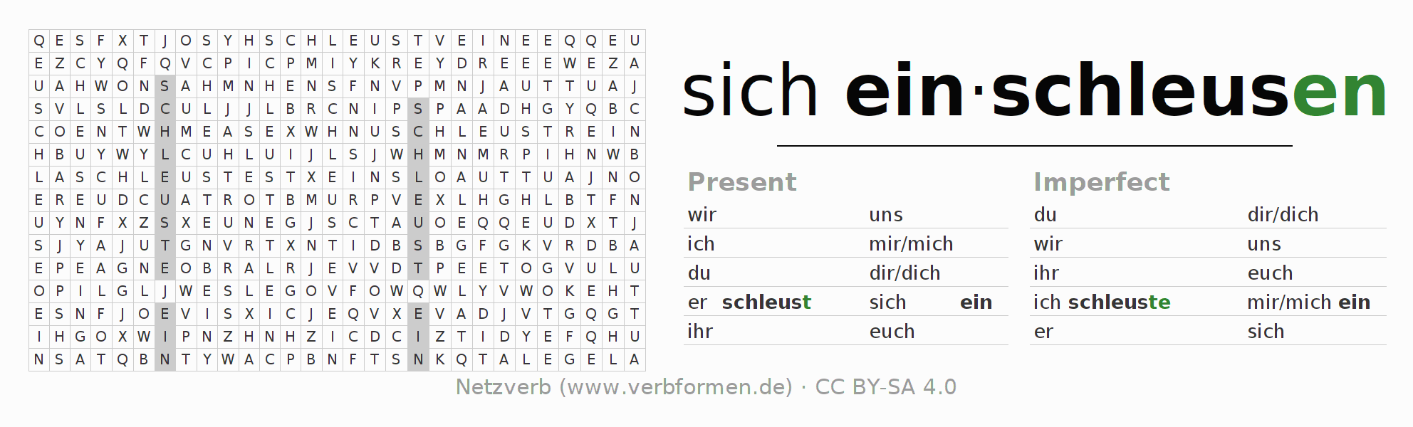 Word search puzzle for the conjugation of the verb sich einschleusen