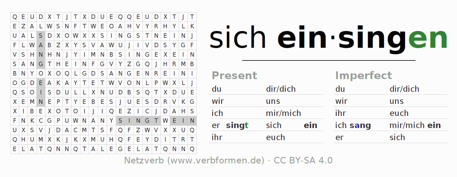 Word search puzzle for the conjugation of the verb sich einsingen
