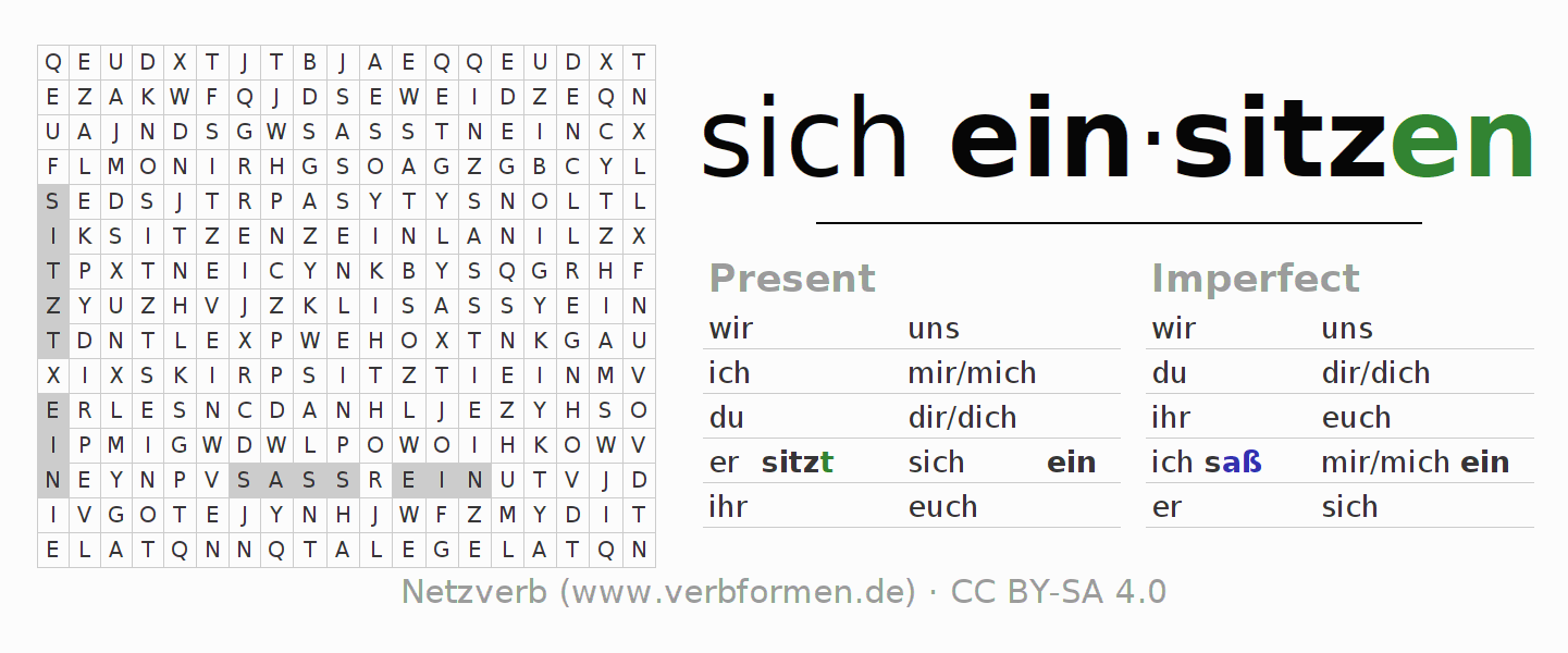 Word search puzzle for the conjugation of the verb sich einsitzen (hat)