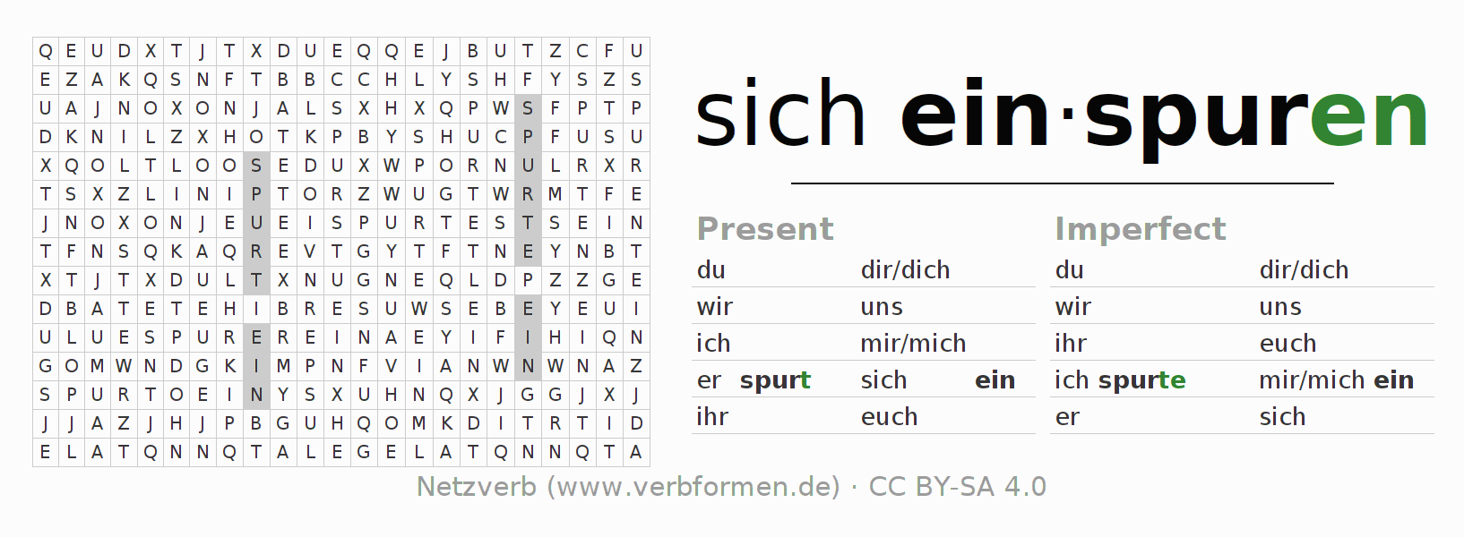 Word search puzzle for the conjugation of the verb sich einspuren