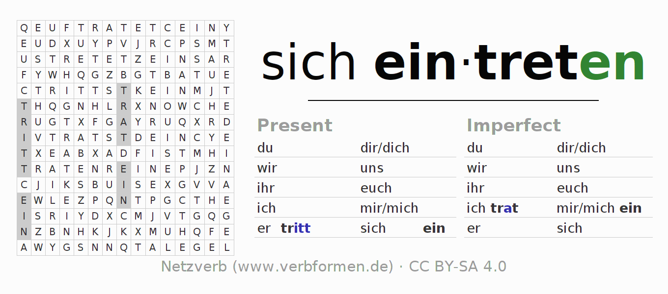 Word search puzzle for the conjugation of the verb sich eintreten (hat)