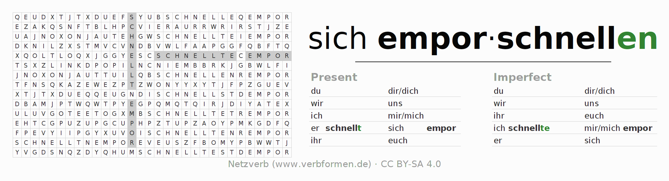 Word search puzzle for the conjugation of the verb sich emporschnellen (ist)