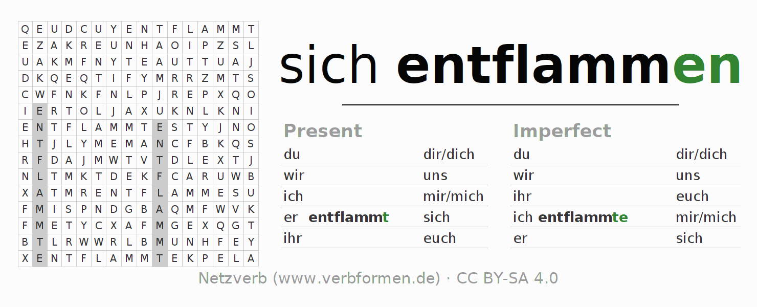 Word search puzzle for the conjugation of the verb sich entflammen (hat)