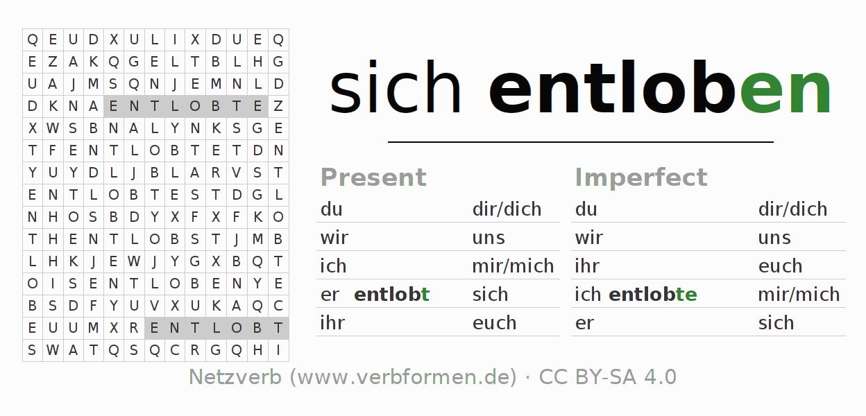 Word search puzzle for the conjugation of the verb sich entloben