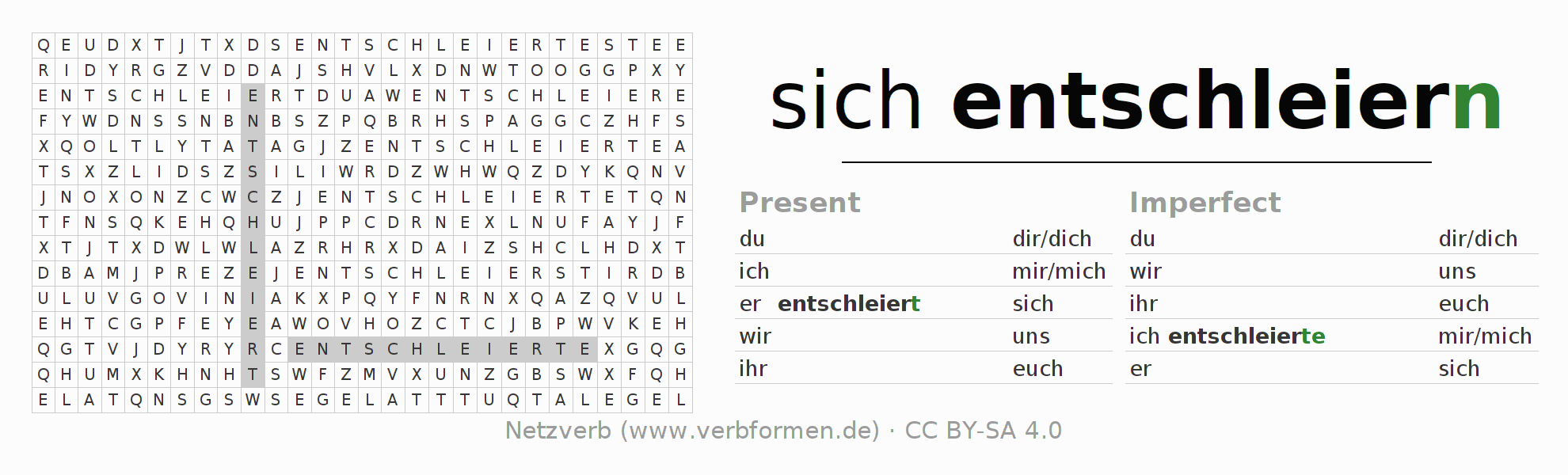 Word search puzzle for the conjugation of the verb sich entschleiern