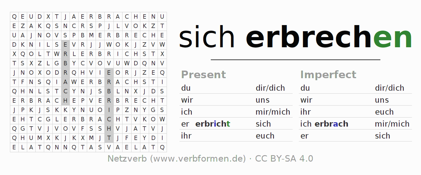 Word search puzzle for the conjugation of the verb sich erbrechen