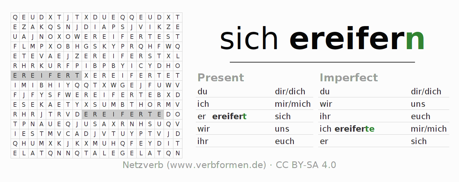 Word search puzzle for the conjugation of the verb sich ereifern