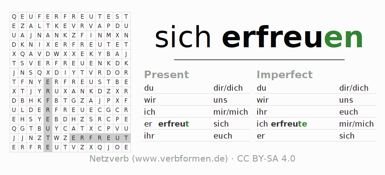 Word search puzzle for the conjugation of the verb sich erfreuen