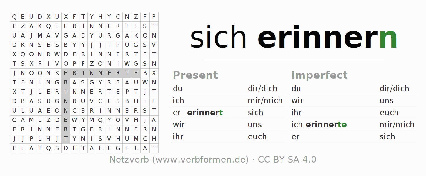 Word search puzzle for the conjugation of the verb sich erinnern