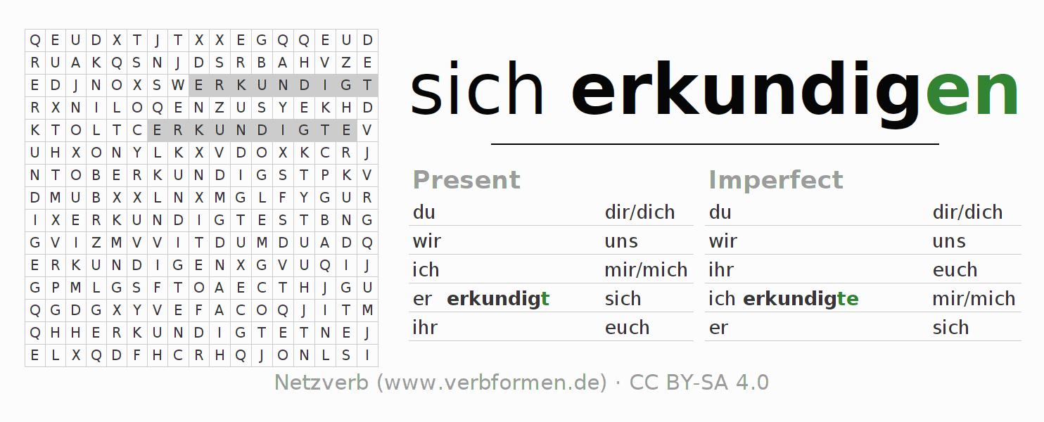 Word search puzzle for the conjugation of the verb sich erkundigen