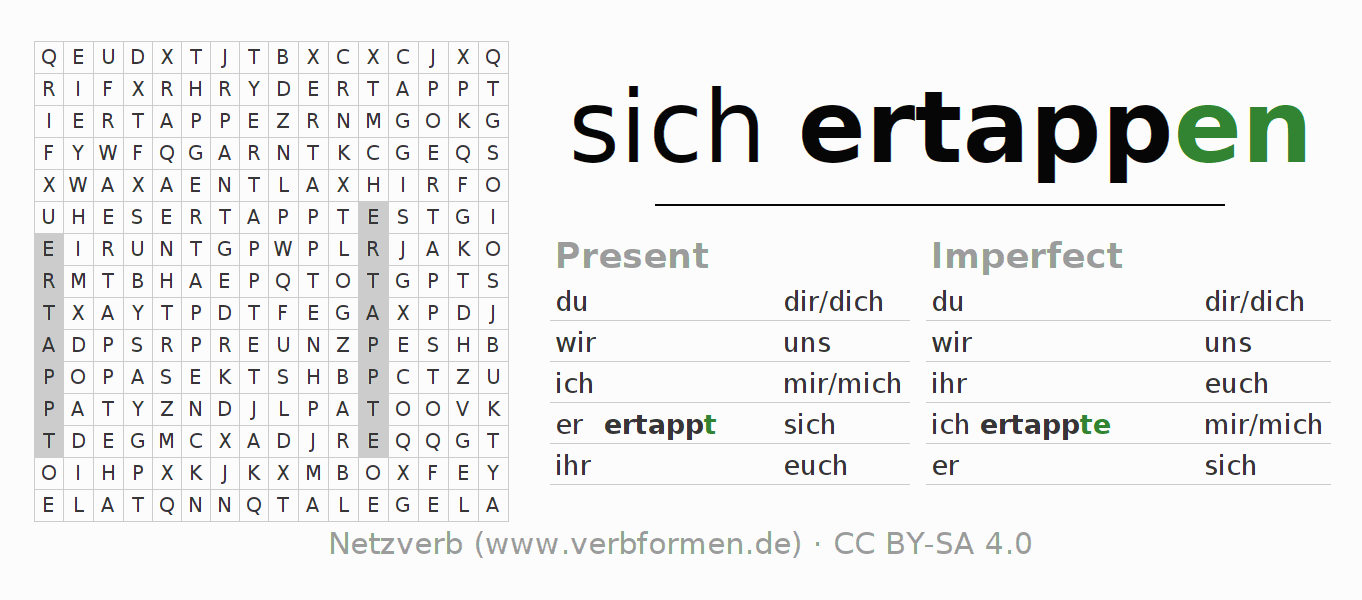 Word search puzzle for the conjugation of the verb sich ertappen