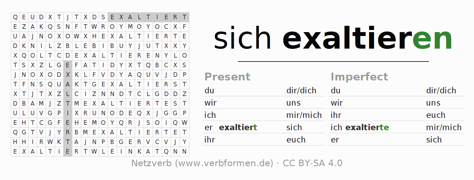 Word search puzzle for the conjugation of the verb sich exaltieren