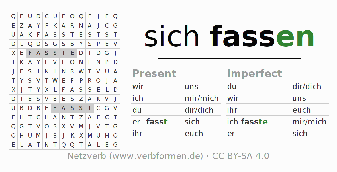Word search puzzle for the conjugation of the verb sich fassen