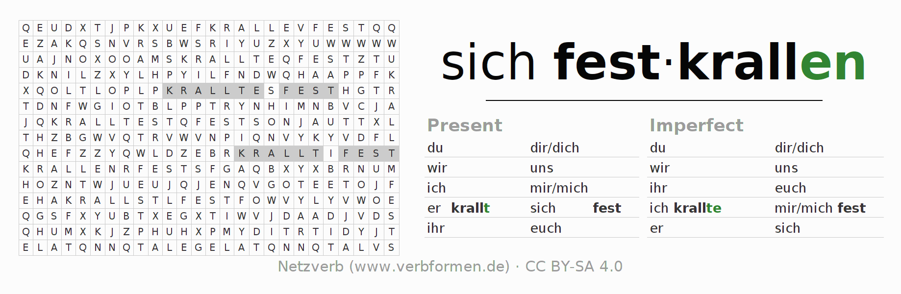 Word search puzzle for the conjugation of the verb sich festkrallen