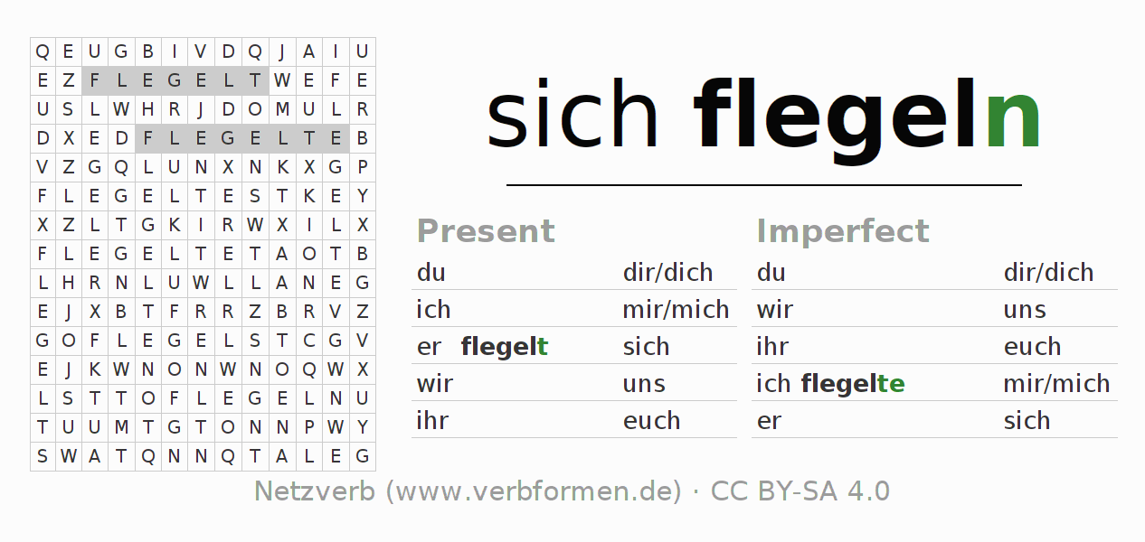 Word search puzzle for the conjugation of the verb sich flegeln