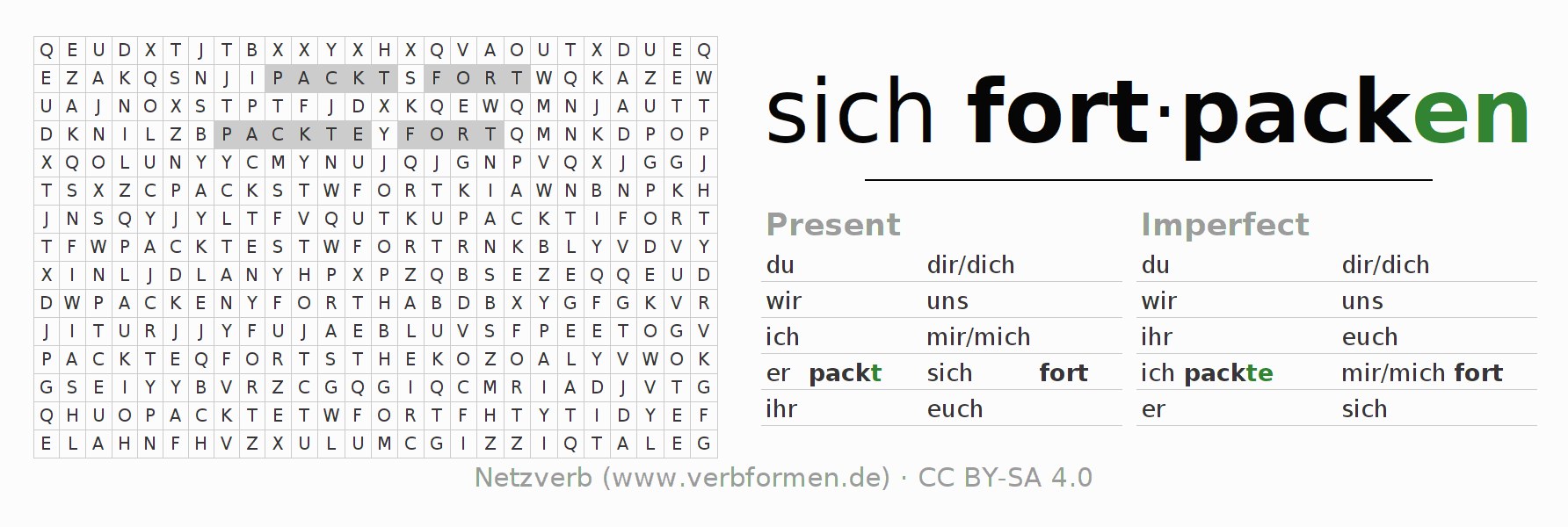 Word search puzzle for the conjugation of the verb sich fortpacken