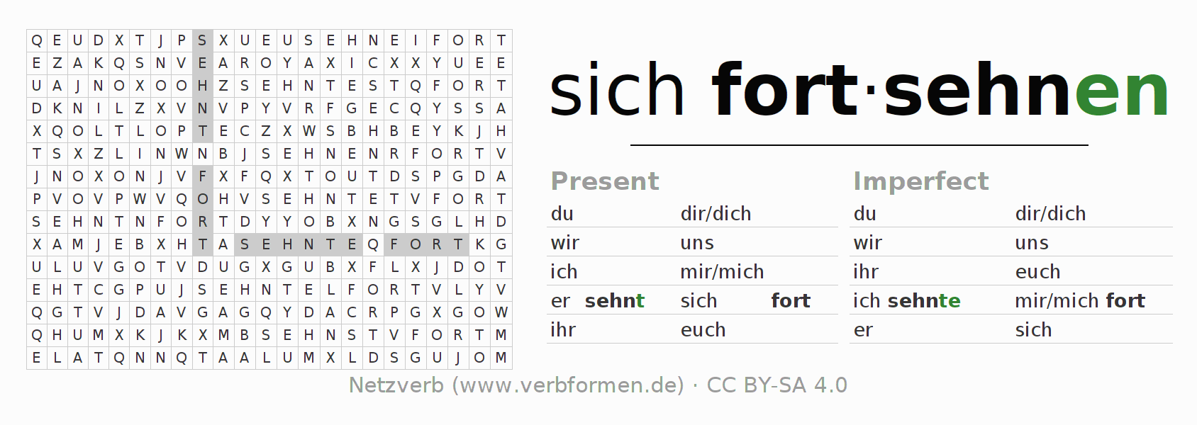 Word search puzzle for the conjugation of the verb sich fortsehnen