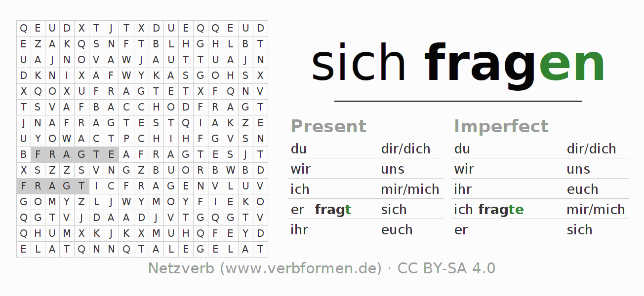 Word search puzzle for the conjugation of the verb sich fragen (regelm)