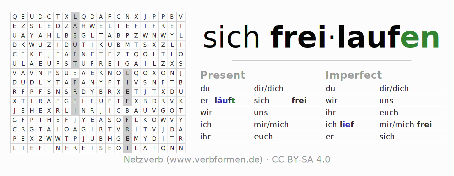 Word search puzzle for the conjugation of the verb sich freilaufen
