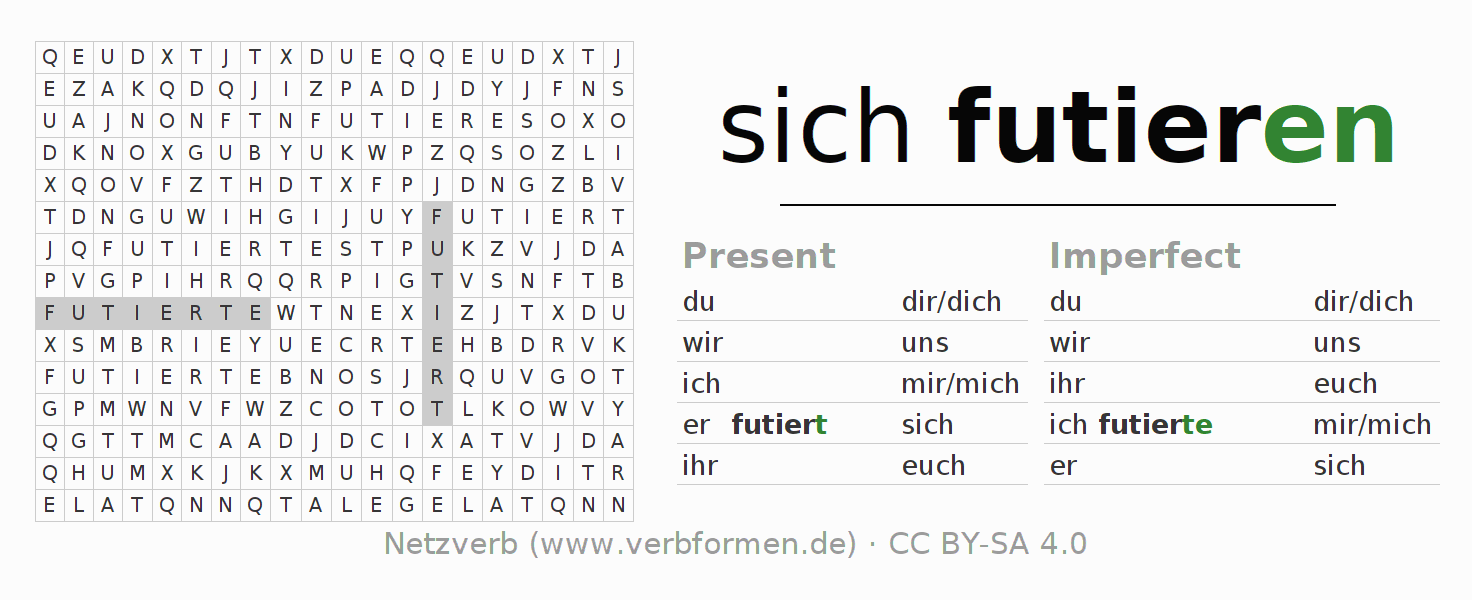 Word search puzzle for the conjugation of the verb sich futieren