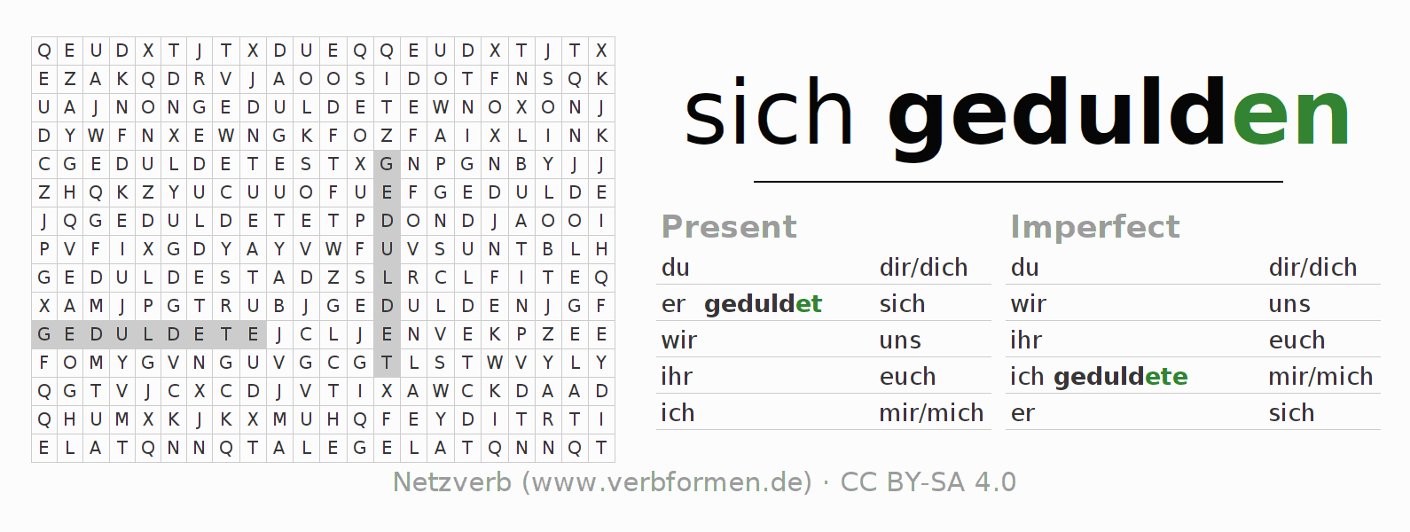 Word search puzzle for the conjugation of the verb sich gedulden
