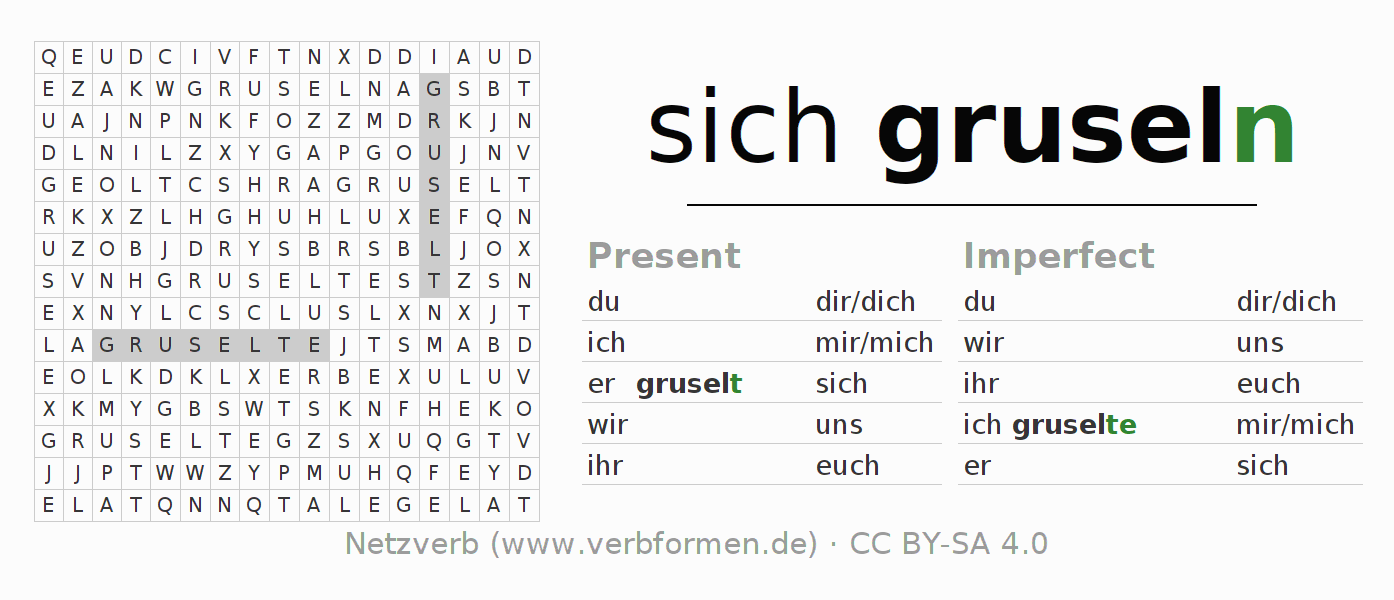 Word search puzzle for the conjugation of the verb sich gruseln