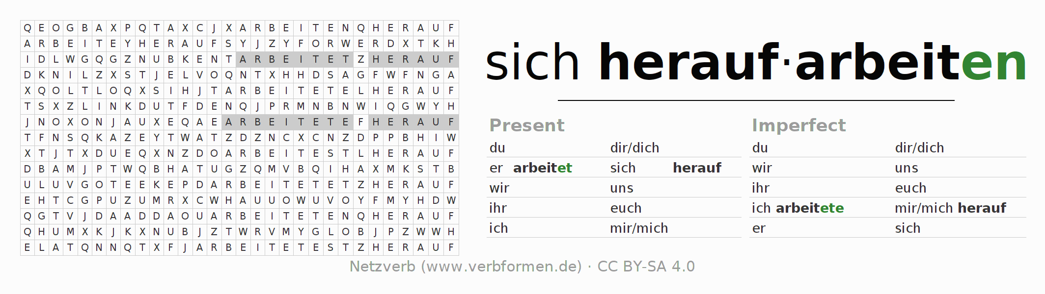 Word search puzzle for the conjugation of the verb sich heraufarbeiten
