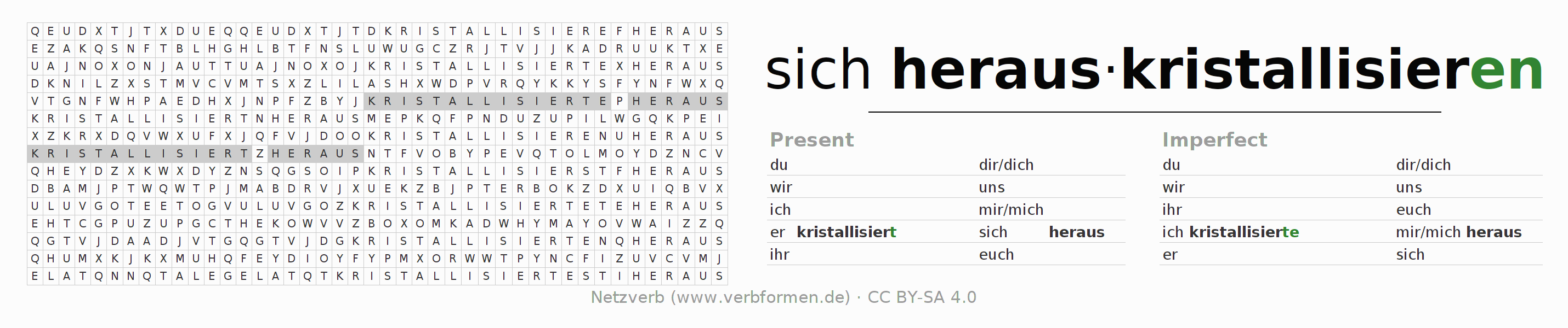 Word search puzzle for the conjugation of the verb sich herauskristallisieren