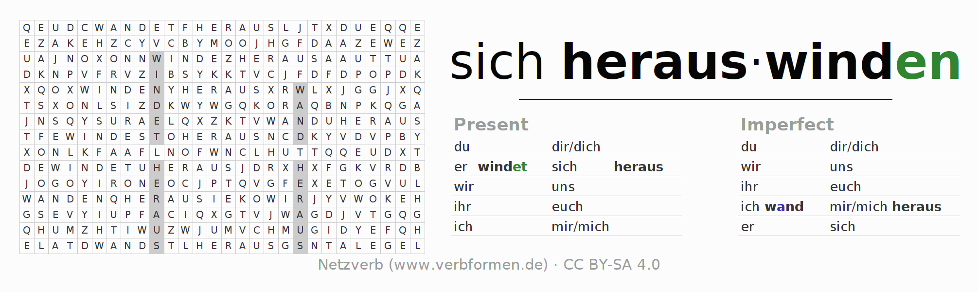 Word search puzzle for the conjugation of the verb sich herauswinden