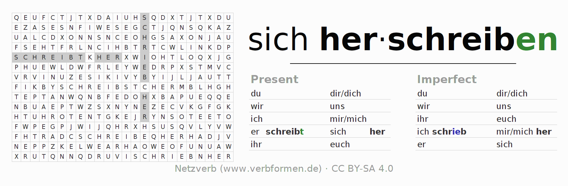 Word search puzzle for the conjugation of the verb sich herschreiben