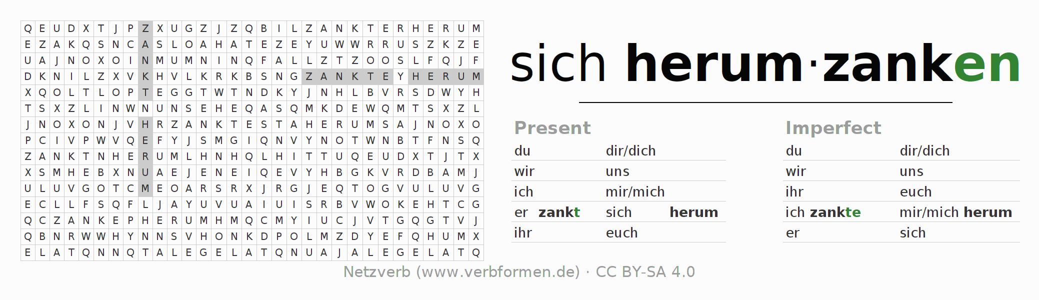 Word search puzzle for the conjugation of the verb sich herumzanken