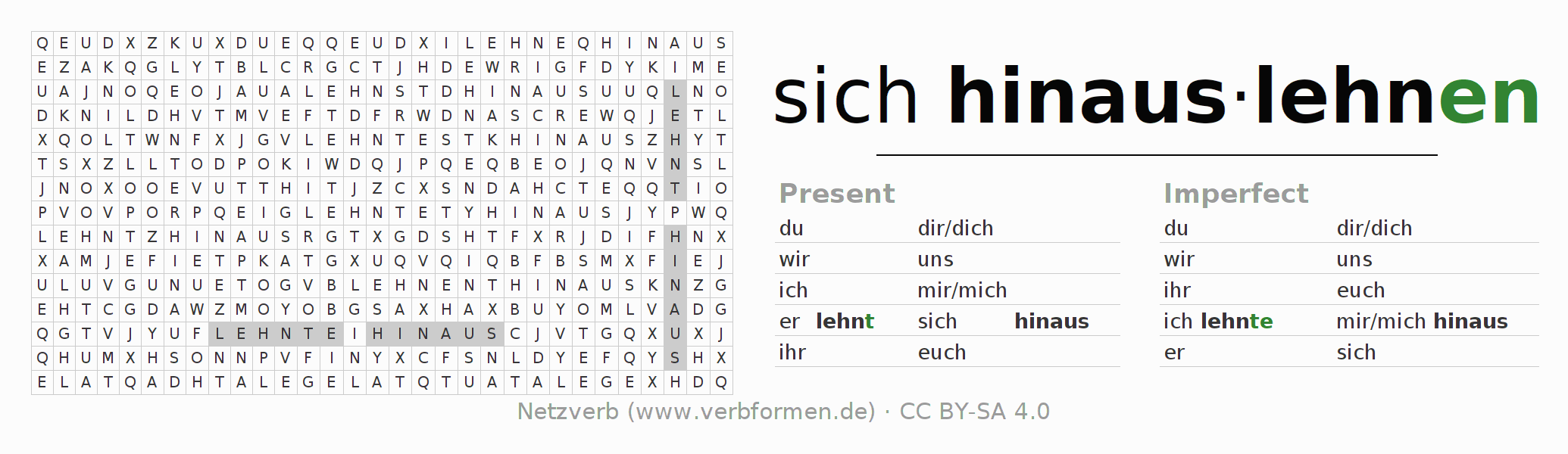 Word search puzzle for the conjugation of the verb sich hinauslehnen