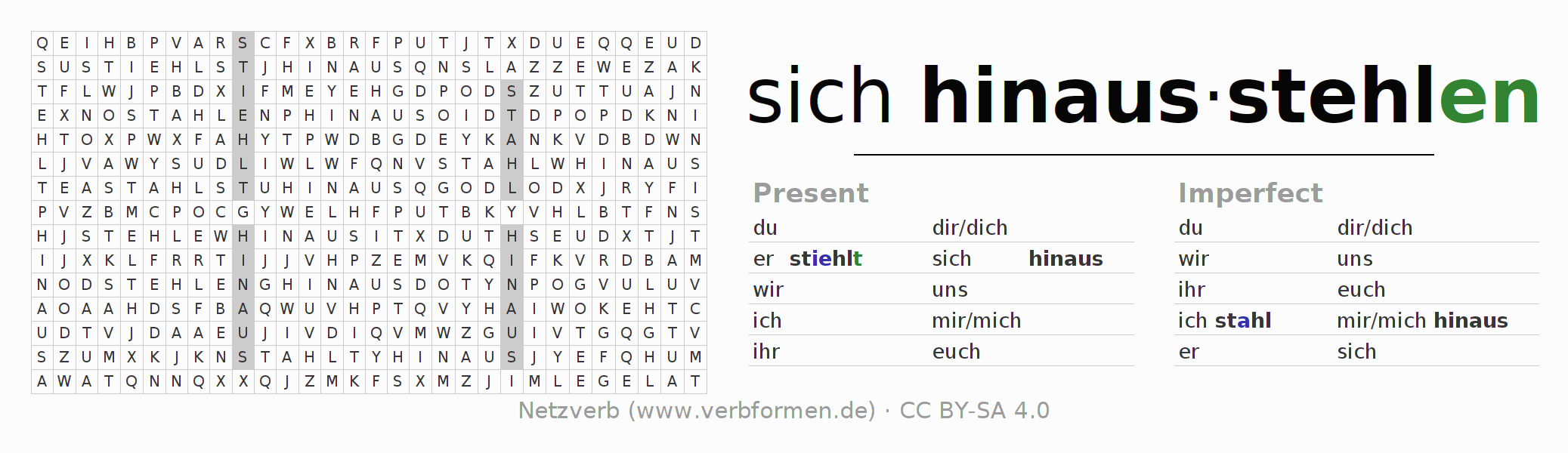 Word search puzzle for the conjugation of the verb sich hinausstehlen