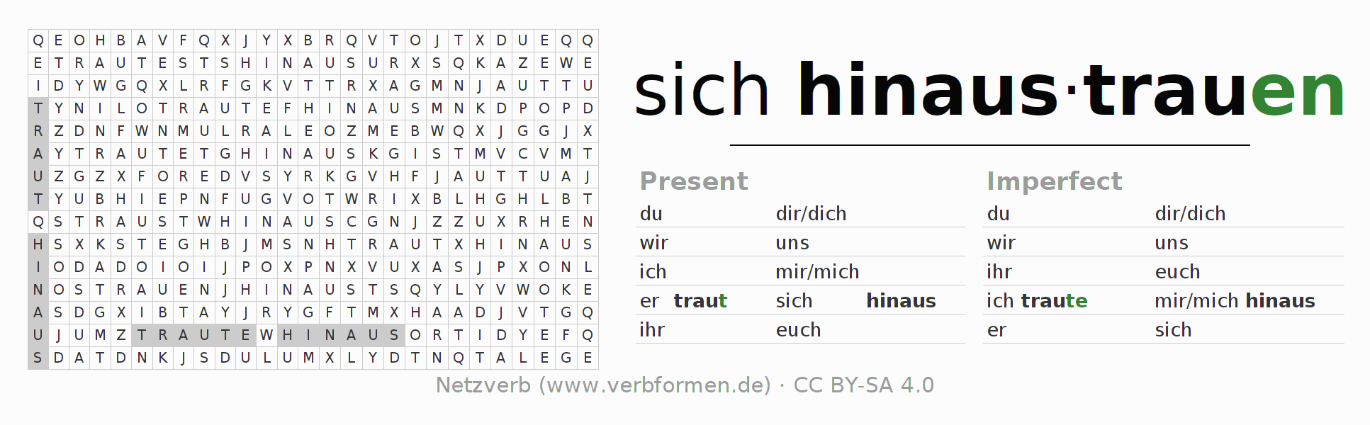 Word search puzzle for the conjugation of the verb sich hinaustrauen