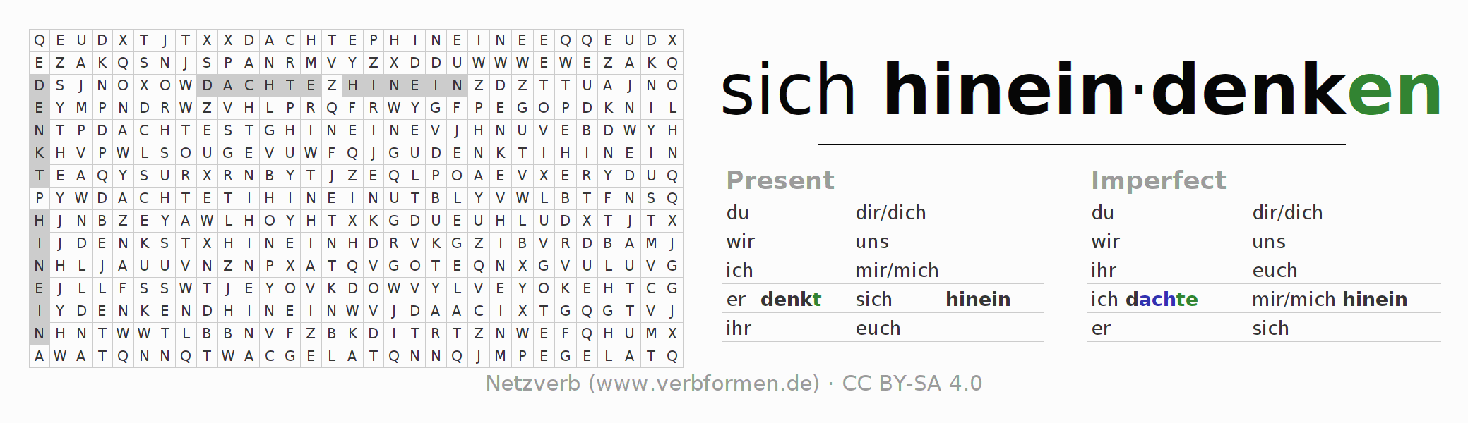 Word search puzzle for the conjugation of the verb sich hineindenken