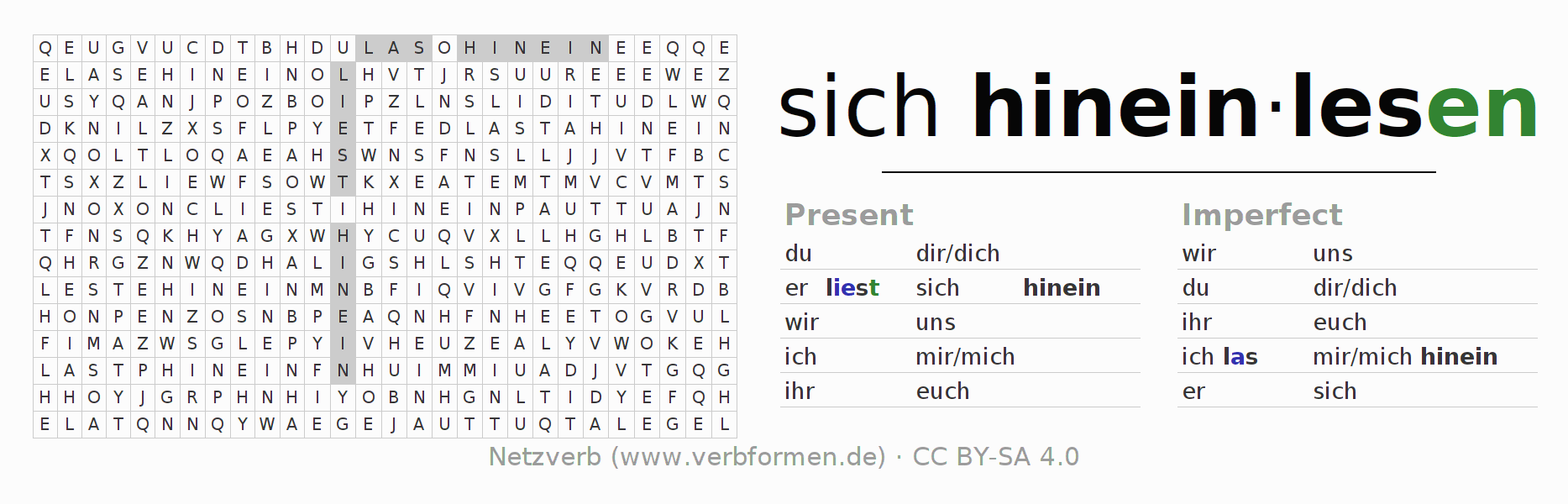Word search puzzle for the conjugation of the verb sich hineinlesen