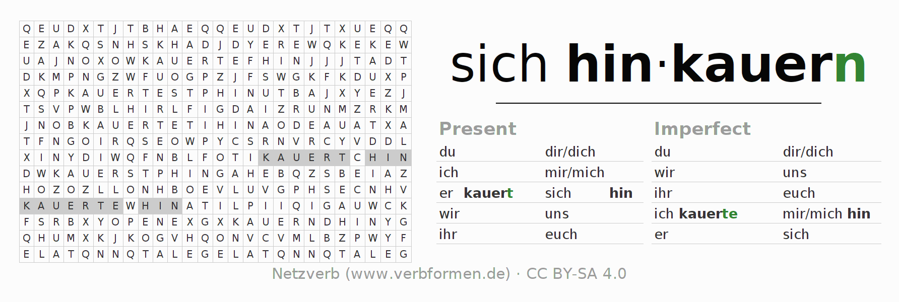 Word search puzzle for the conjugation of the verb sich hinkauern