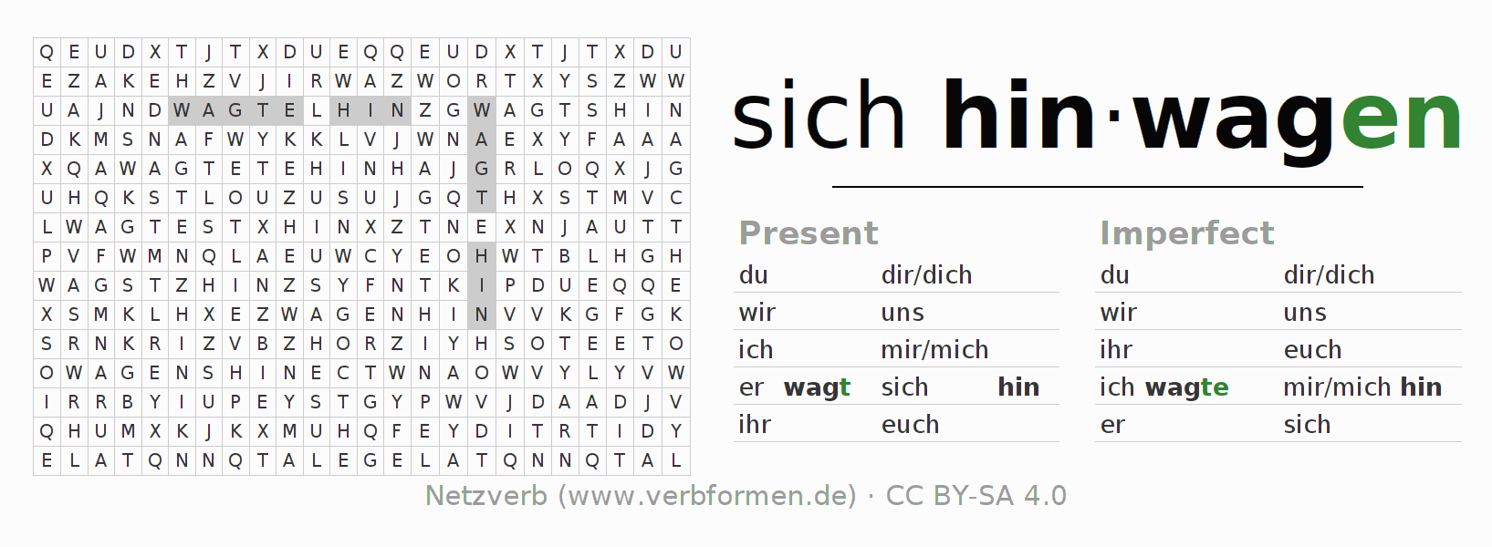 Word search puzzle for the conjugation of the verb sich hinwagen