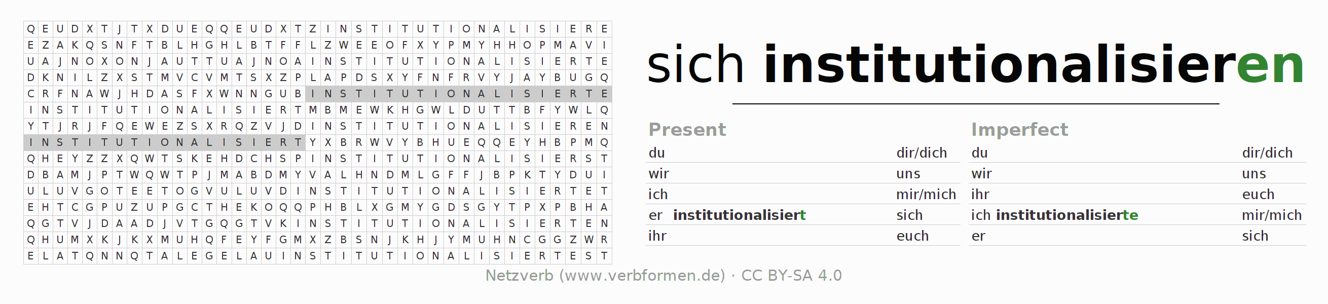 Word search puzzle for the conjugation of the verb sich institutionalisieren