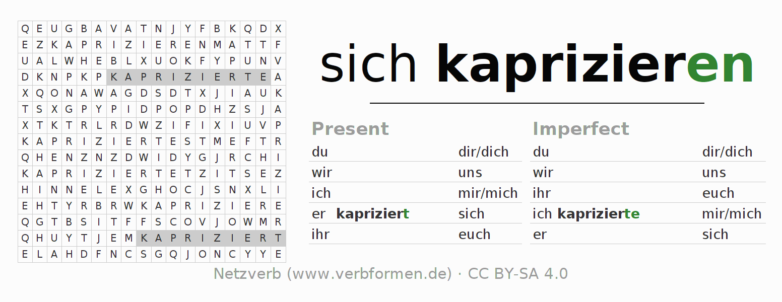 Word search puzzle for the conjugation of the verb sich kaprizieren