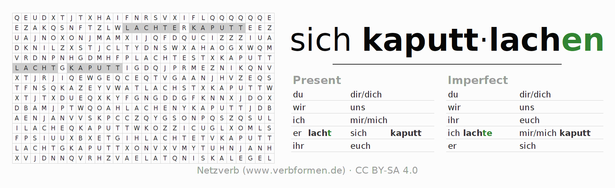 Word search puzzle for the conjugation of the verb sich kaputtlachen