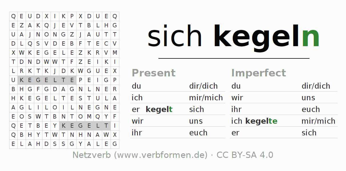 Word search puzzle for the conjugation of the verb sich kegeln (hat)