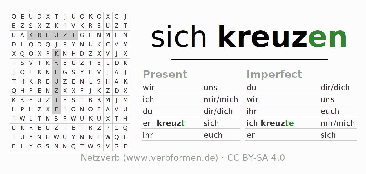 Word search puzzle for the conjugation of the verb sich kreuzen (hat)