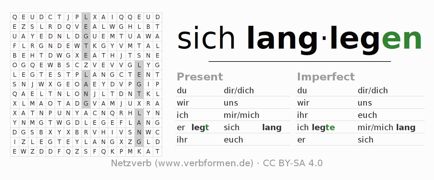 Worksheets | Verb sich langlegen | Exercises for conjugation of ...