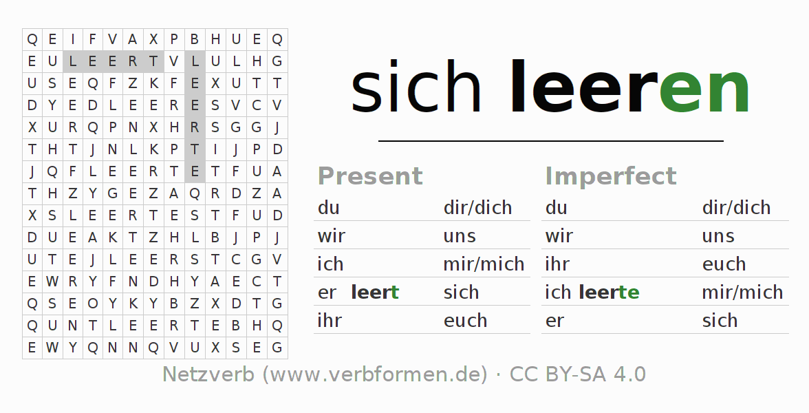 Word search puzzle for the conjugation of the verb sich leeren