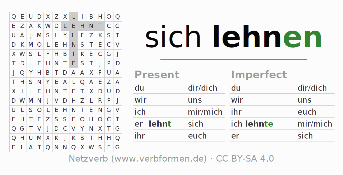 Word search puzzle for the conjugation of the verb sich lehnen