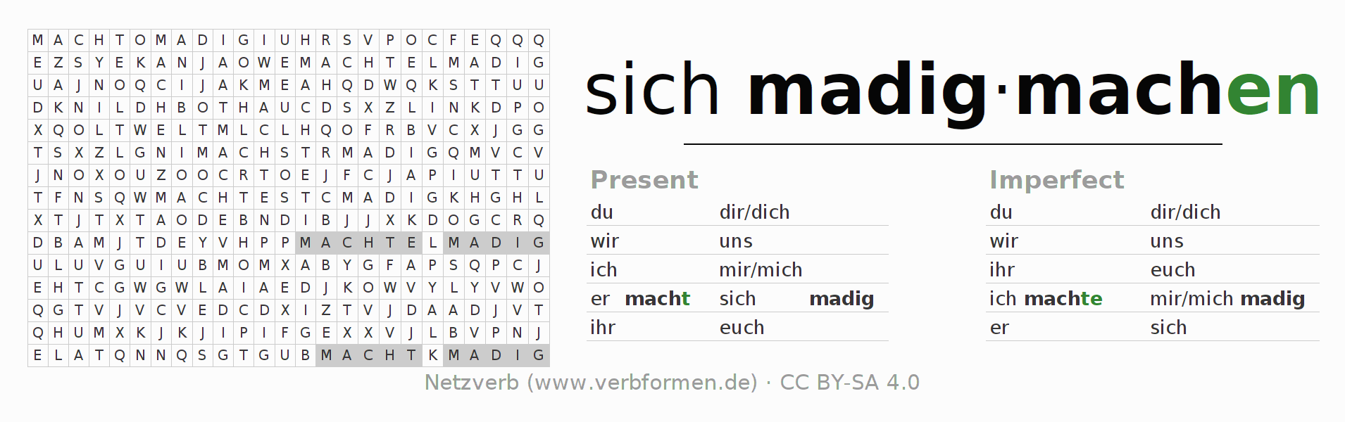 Word search puzzle for the conjugation of the verb sich madigmachen